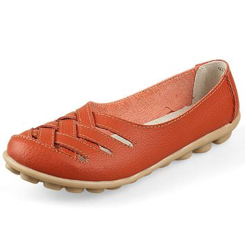 Spring Summer Loafers Women Slip On Flats Shoes Genuine Leather Moccasins Zapatos Muje