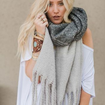 Cameron Brushed Plaid Scarf - Gray