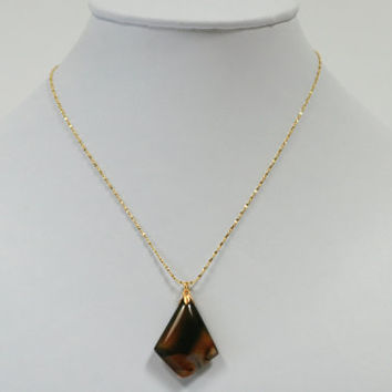 Montana Agate Pendant Necklace on Gold Plated Sterling Silver Twist Chain -- Product P011