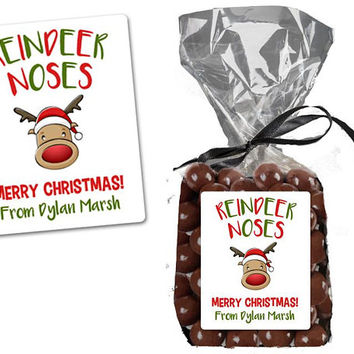 Reindeer Noses Bag Labels - Christmas Bag Stickers - Personalized Christmas Gift Candy Bag Label - Reindeer Bag Labels - Kids Class Stickers