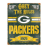"NFL Green Bay Packers Embossed Metal Sign, 14-1/2x11""-1/2"", Green"