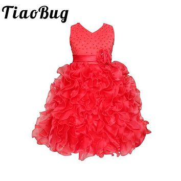 TiaoBug Floral Beading Flower Girl Dresses Kids Cascading Ruffle Party Evening Gowns Pearls Communion Dress Festival Vestidos