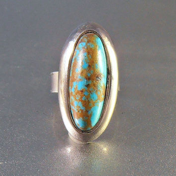 Sterling Turquoise Ring, Southwestern Knuckle Cocktail Ring, Size 6.75