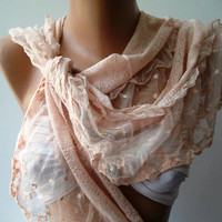 Salmon Pink  - Elegance  Shawl / Scarf with Lacy Edge