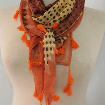 Christmas gift -Tasseled scarves  Cotton  Scarf  SQUARE scarf  %100 Cotton polka dot scarves
