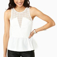 Laced Peplum Top