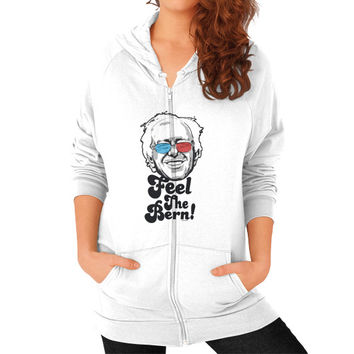 Bernie Sanders Pop Art Portrait  Zip Hoodie (on woman)