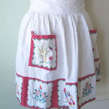 Imperfectly Charming Vintage Half Apron w/ Folkloric Couples & Tulips; Off-White w/ Red Polka Dot/Blue Cotton Apron; U.S. Shipping Included