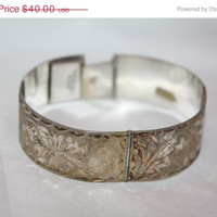 Easter Sale Sterling Panel Bracelet Engraved  Mexico  Vintage 1970s Jewelry
