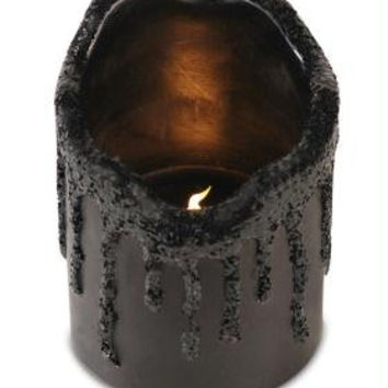 6 Flameless Candles - Black Glitter