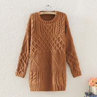 Vintage Winter Warm Womens Brown Cable Knit Sweater