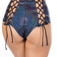 Holographic Black Lace Back High Waist Rave Bottoms
