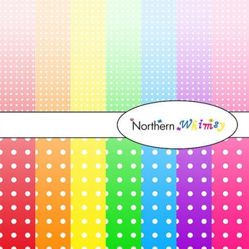 Digital Scrapbooking Paper Background Set – bright rainbow ombre package in large and small  polka dot patterns INSTANT DOWNLOAD