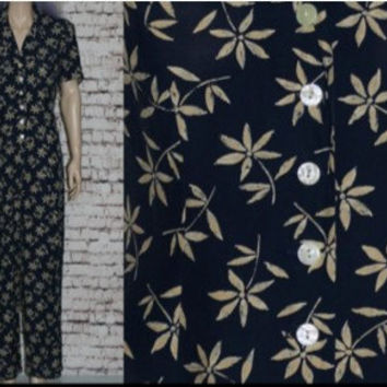 90s Jumpsuit Navy Blue floral Print Maxi Dress Rayon Jumper Romper Onsie Wide Leg Flowy Oversize Hipster Grunge Boho Festival S M Dasies