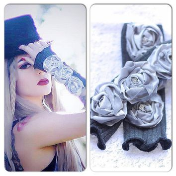 Victorian Rose gloves, silver velvet Rose arm warmers, Shabby boho embellished gloves, Ladies Winter gloves Gray silver, True rebel clothing