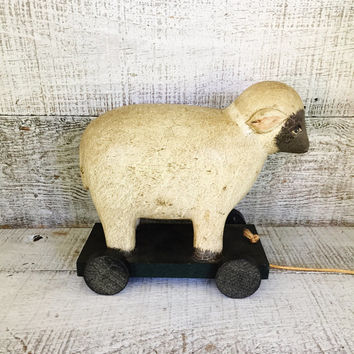 Antique Wooden Pull Toy Folk Art Sheep Pull Toy Nursery Decor Antique Wood Lamb On Wheels Ewe on Wheels Primitive Hand Made Toy Collectible