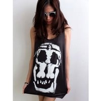 Goth Human Skull Salvador Dali Surreal Pop Art Fashion Rock Tank Top M