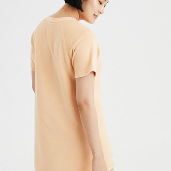 AE Washed Fleece T-Shirt Dress, Yellow