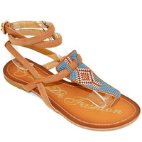 Multi Strap Flat Sandal with Beading