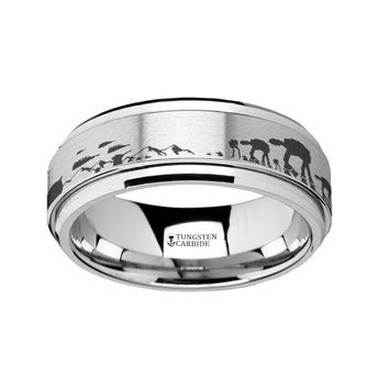Star Wars Tungsten Spinner Ring with Battle of Hoth Engraving AT-AT Snowspeeder