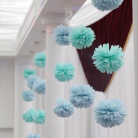 Set of 40 Tissue Pom Poms Party Decoration Paper Pompom Baby Shower Pompoms Tissue Poms Wedding Decorations Ceremony Decor Sky