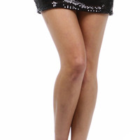 Black Sequin Mini Skirt With Elastic Band