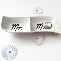 Hand Painted Mr and Mrs Wedding Ring Dish