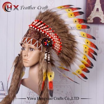 Chief Indian feather Headdress Native American headdress indian feather costumes War Bonnet Hat indian headdress