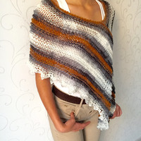 Handknit poncho shawl , hand knit sweater poncho, boho style , winter shawl , holiday gift , winter trends , women wear , womens gift