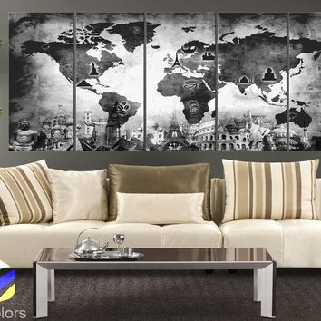 "XLARGE 30""x 70"" 5 Panels 30""x14"" Ea Art Canvas Print Original Wonders of the world Old Map Black & White Wall decor Home interior (framed 1.5"" depth)"