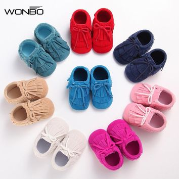 Wonbo PU Leather Baby Moccasins hand-made lace-up suede Baby Shoes tassel First Walker Chaussure Bebe newborn shoes