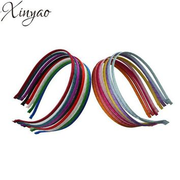 LMF78W 5pcs/lot Satin Ribbon Covered Hairbands Hair Jewelry Making DIY Material For Girls Baby Women Hand Band F1847