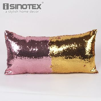 Rectangle Mermaid Sequin Cushion Cover 30*60cm DIY Two Tone Changing Colors Sequins Pillowcase Sofa Seat Pillow Cover Home Decor