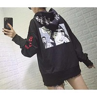 Fashion Graffiti Letter Pattern Print Loose Long Sleeve Hooded Sweater Women Tops