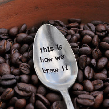 This is how we brew it Whimsical Hand Stamped by jessicaNdesigns