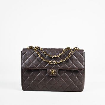 "Chanel ""Classic Jumbo Single Flap"" Brown and Gold Caviar Leather Bag"