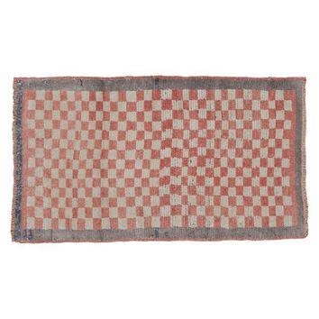 "Pre-owned Vintage Checkered Tulu Runner Rug - 2'3"" x 3'10"""