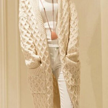 Collarless Cable Knit Long Sleeve Cardigan