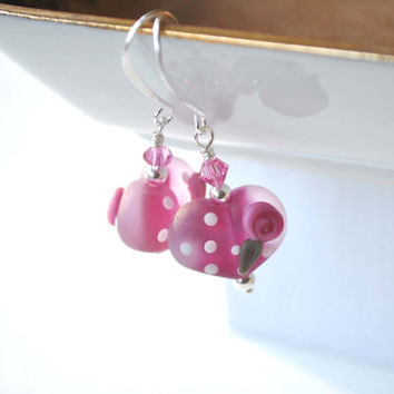 Pink Heart Earrings - Valentine Earrings - Lampwork Glass Earrings