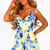 Sinita Lemon Floral Wrap Playsuit