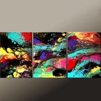 3pc ABSTRACT Canvas Art Painting - Huge 54x24 Original CUSTOM Made to order Art Painting by Destiny Womack - dWo -