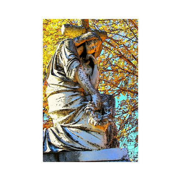 Virginia Fine Art Print,  Pensive Thinker, Victorian Angel Print, Gothic Dark Art, 4x6 Cemetery Fine Art, Ready to Frame