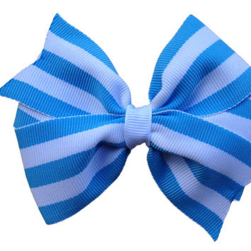 ON SALE 20% OFF Light blue striped hair bow - 4 inch bow