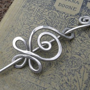 Celtic Budding Spiral Aluminum Shawl Pin, Scarf Pin, Sweater Brooch, Fastener - Hammered Celtic Knitting Accessory, Women, Accessories Metal
