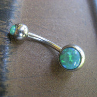 Green Fire Opal Belly Button Ring Jewelry Piercing Bar Barbell 14 Gauge Navel Stud