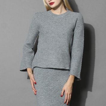 Sassy Grey Twill Knit Top and Skirt Set