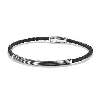 Men's Sky Bracelet in Black Leather, 3mm - David Yurman - Black