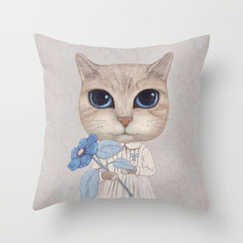 Cat with a blue flower Throw Pillow by Oksana