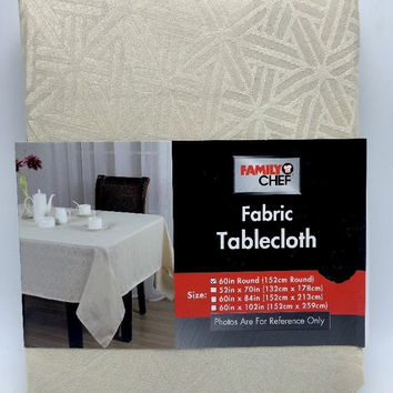 Fabric Tablecloth Cream Beige Textured Pattern 60 In Round inch New