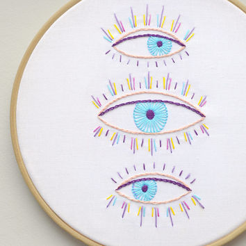 Embroidery kit PDF, Colorful hand embroidery patterns, eyes embroidery design, evil eye, eyelashes, wall art by NaiveNeedle